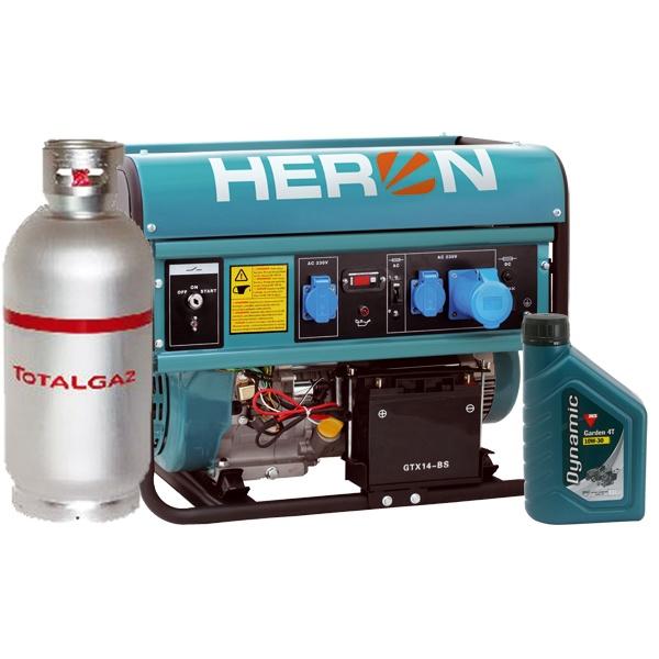 Heron benzin-gáz motoros egyfázisú áramfejlesztő generátor aggregát, (EGM-68/55 AVR-1EG), önindítós