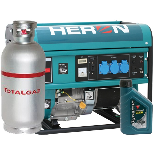 HERON benzin-gázmotoros áramfejlesztő generátor aggregát GM-55/48 AVR-1G