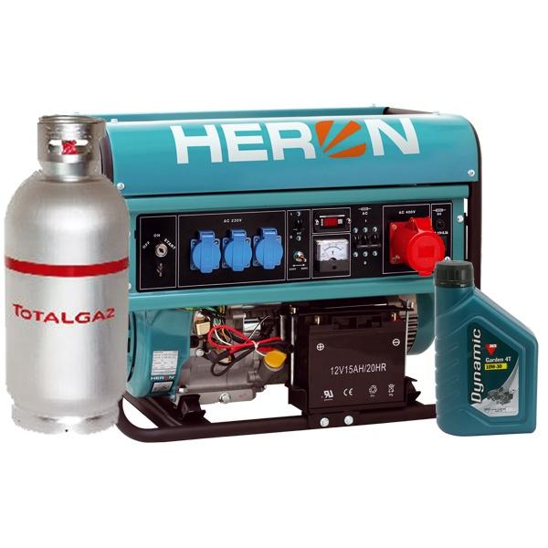 Heron benzin-gázmotoros háromfázisú áramfejlesztő generátor aggregát, (EGM-68 AVR-3EG), önindítós