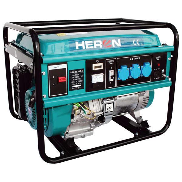 HERON Benzinmotoros egyfázisú áramfejlesztő, generátor aggregát EGM-55 AVR