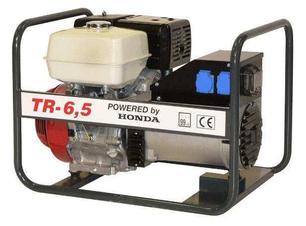 Honda benzinmotoros áramfejlesztő generátor aggregát 3F: 6,5 kVA, 1F:4 kVA, TR-6,5