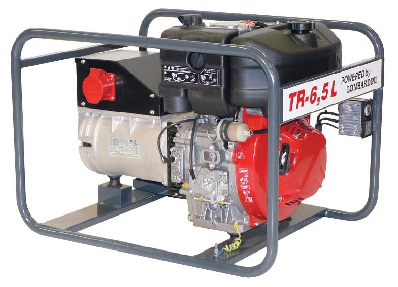 Lombardini dízelmotoros TR-6,5 L áramfejlesztõ, 1 fázis 4 kVA, 3 fázis 6,5 kVA