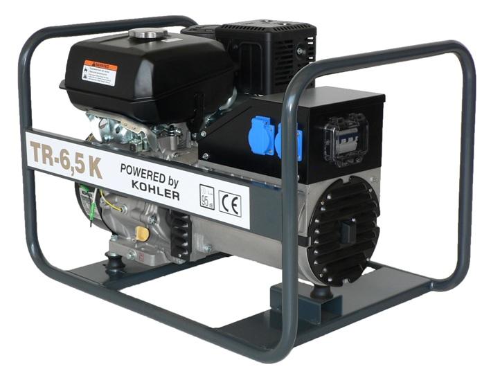 Kohler benzinmotoros TR-6,5 K áramfejlesztõ, 1 fázis 3 kVA, 3 fázis 7 kVA